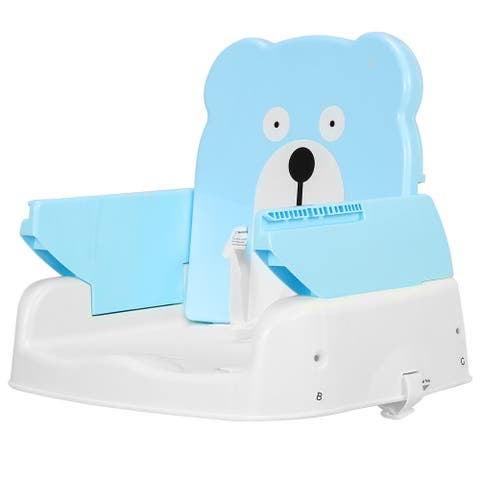 Adjustable Height Portable Folding Booster Toddler Chair Tray-Blue
