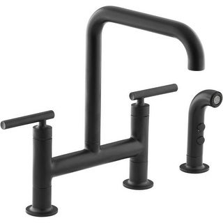 Kohler K-7548-4 Purist Double Handle Bridge Kitchen Faucet with Rotating Spout and Pull Out Spray