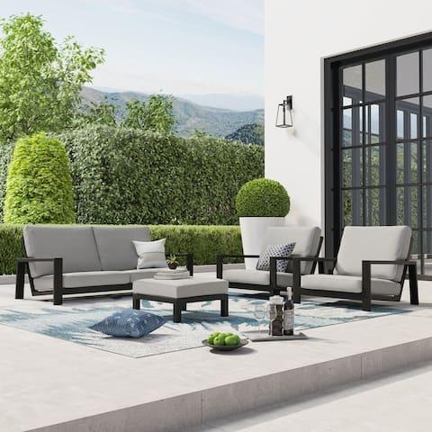 Benton 4-Piece Aluminum Outdoor Conversation Sofa Set with Cushions