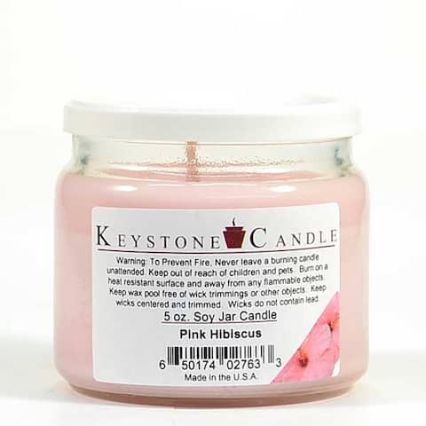 1 Pc 5 oz Pink Hibiscus Soy Jar Candles 3.5 in. diameter x 2.75 in. tall