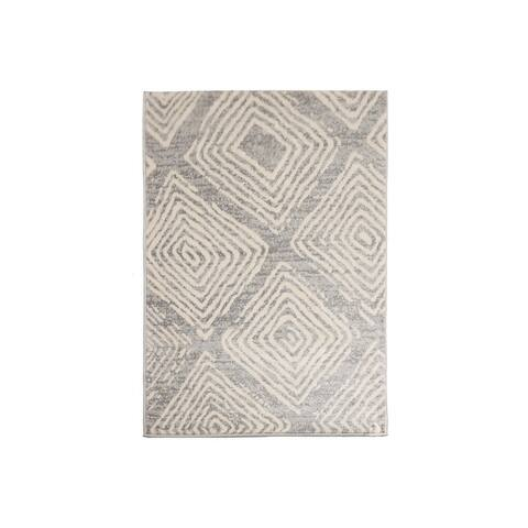 LoomBloom Persian Polypropylene Diamond Modern & Contemporary Oriental Area Rug Gray, Beige Color