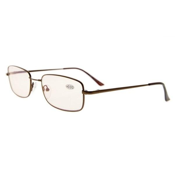 Eyekepper Bridge-flex Memory Titanium Mens Womens Spring Hinges Eyeglasses Brown(Amber Lens, +1.50)