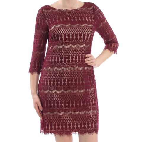 JESSICA HOWARD Womens Burgundy Embroidered Frayed Nordic 3/4 Sleeve Jewel Neck Above The Knee Shift Cocktail Dress Size: 14