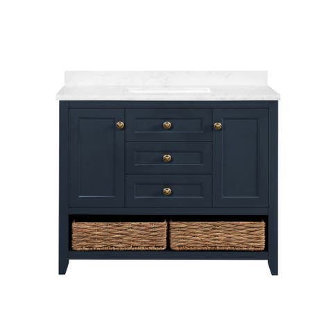Martha Stewart Granary 42 in. Vanity from Lily Pond Collection in Midnight Blue finish