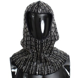 Dolce & Gabbana Black Wool Crystal Runway Crochet Hood - One size