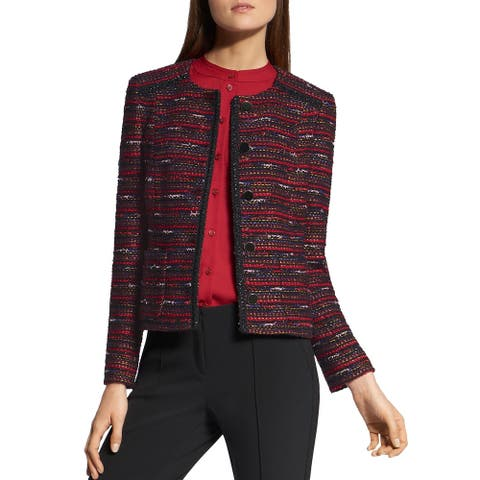 Basler Womens Blazer Tweed Metallic - Red