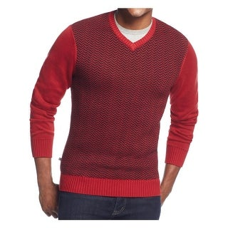Geoffrey Beene Mens Intarsia Pullover Sweater Chevron V-Neck (3 options available)
