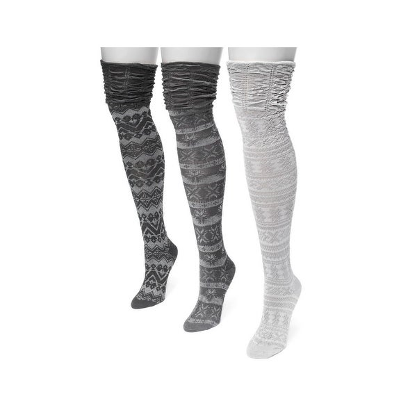 Muk Luks Socks Womens Over Knee Microfiber 3 pack One Size - One size