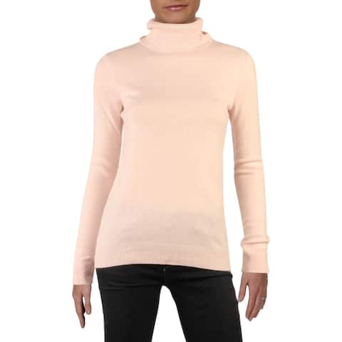 Private Label Womens Turtleneck Sweater Cashmere Ribbed Trim - Nude - S