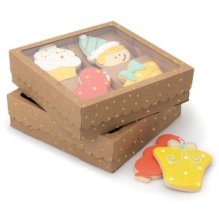 Sweet Sugarbelle Four Cookies Box-Kraft W/Gold Dots