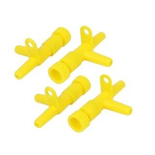 Unique Bargains 4 Pcs 2 Way Plastic Aquarium Air Flow Control Regulator Valve Yellow