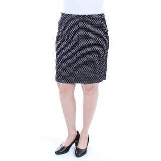 ANNE KLEIN $89 Womens New 1113 Black Polka Dot Knee Length Pencil Skirt 6 B+B