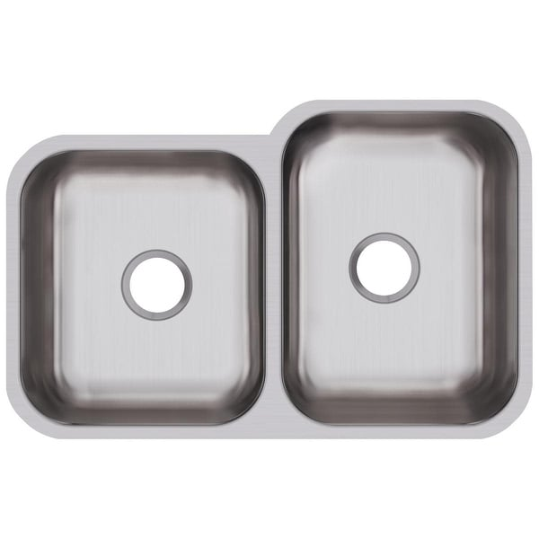 "Elkay DXUH312010L Dayton 31-3/4"" Stainless Steel Double Basin Undermount Kitchen Sink - Stainless Steel"