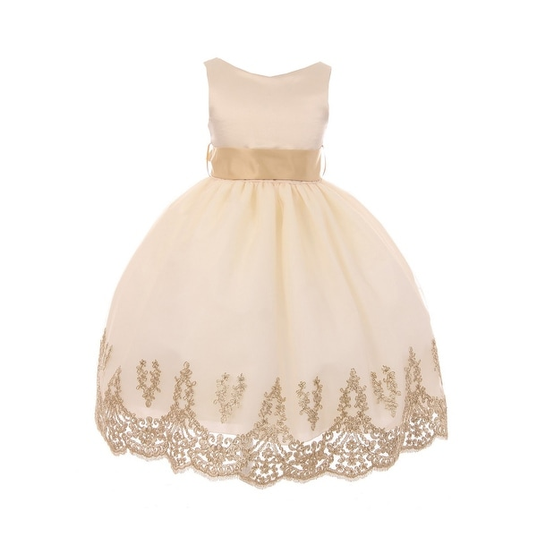 f626b0aca5 Shop Big Girls Taupe Gold Lace Embroidered Junior Bridesmaid Dress ...
