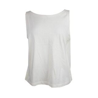 Lauren Ralph Lauren Ivory Jersey Cotton Tank Top L
