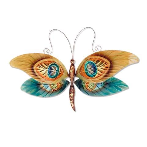 Handmade Peacock Dragonfly Wall Art
