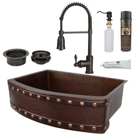 Premier Copper Products KSP4_KASRDB30249BS Kitchen Sink, Spring Faucet and Accessories Package