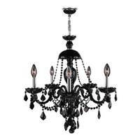 """Worldwide Lighting W83101C28-BL Provence 12-Light 1 Tier 28"""" Chrome Chandelier with Black Crystals - n/a"""