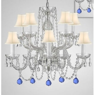 Crystal 10 Light Chandelier With 40mm Crystal Balls - Silver