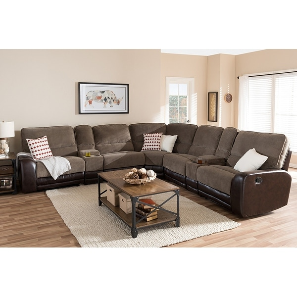 Shop Richmond 7pcs Taupe Fabric/Brown Faux Leather Two