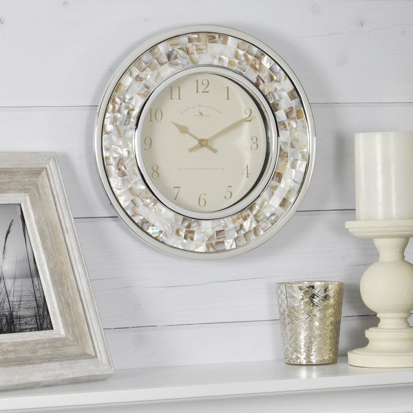 FirsTime & Co.® Pearl Mosaic Wall Clock, American Crafted, White, Plastic, 10.25 x 2 x 10.25 in - 10.25 x 2 x 10.25 in