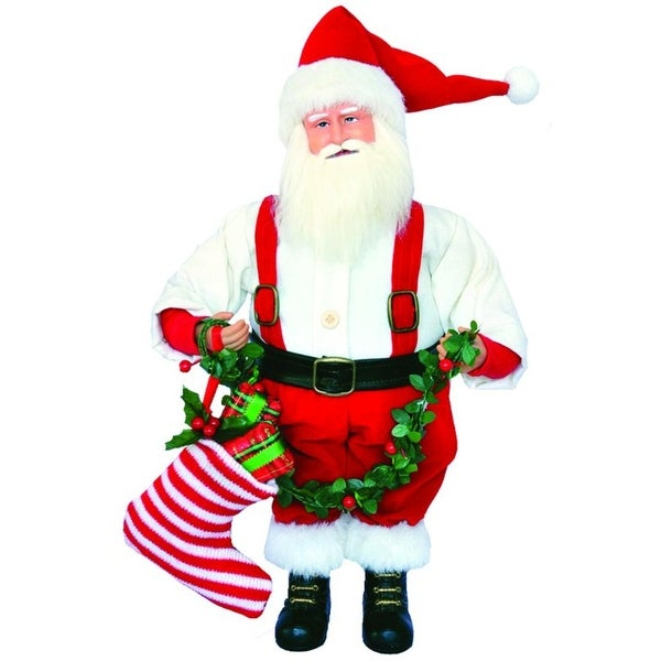 """15"""" Nostalgic Santa Claus Christmas Figure with Holly Garland and Stocking - RED"""