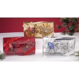 Pack of 12 Holiday Sparkle Unscented Poinsettia Christmas Candles