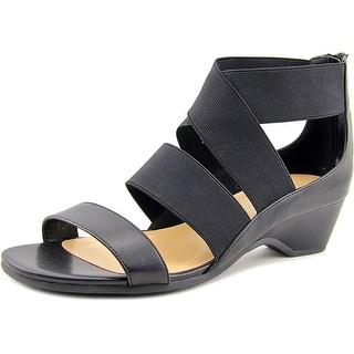 Bella Vita Paloma II Women WW Open Toe Canvas Black Wedge Sandal