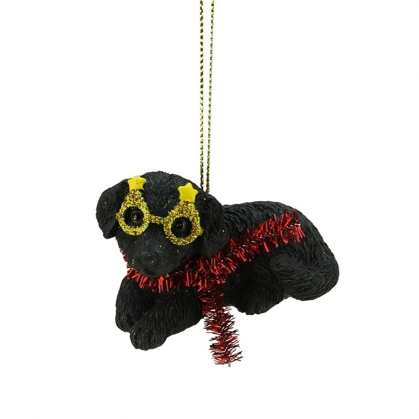 """3"""" Black Lab Puppy Dog Wearing Silly Glasses and Red Tinsel Scarf Christmas Ornament"""