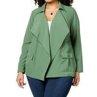 NY Collection Vineyard Green Womens Size 1X Plus Open Front Jacket