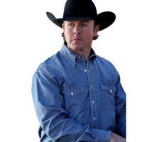 Miller Ranch Western Shirt Mens L/S Chambray Button Light