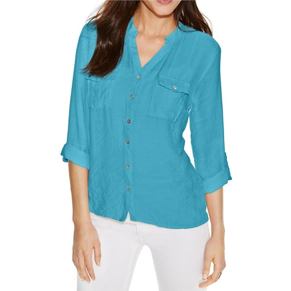 180b9930 Shop NY Collection Womens Button-Down Top Lace Inset Roll-Tab Sleeves - l -  Free Shipping On Orders Over $45 - Overstock - 16203714