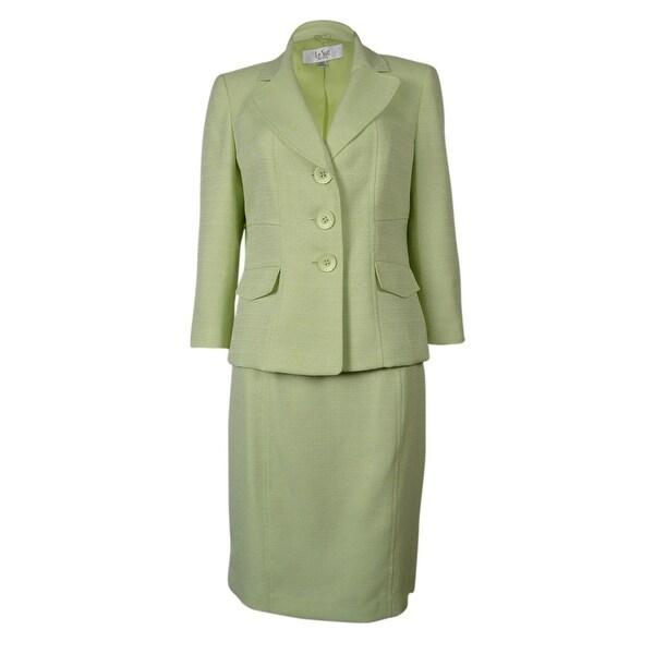 Le Suit Women's Tropical Blooms Woven Skirt Suit - pale crabapple