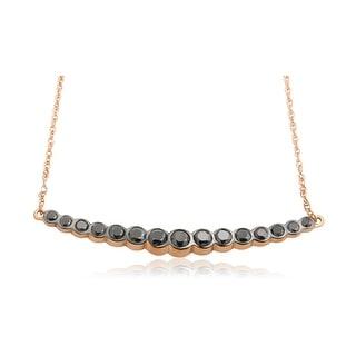 1.96 Carat Round Brilliant Cut Black Diamond Stylist Necklace