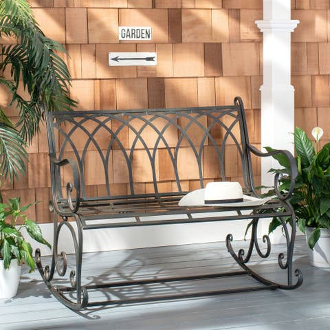 "Safavieh Outdoor Living Ressi Victorian Scroll Iron Rocking Bench - 43.3"" W x 32.6"" L x 36.6"" H"
