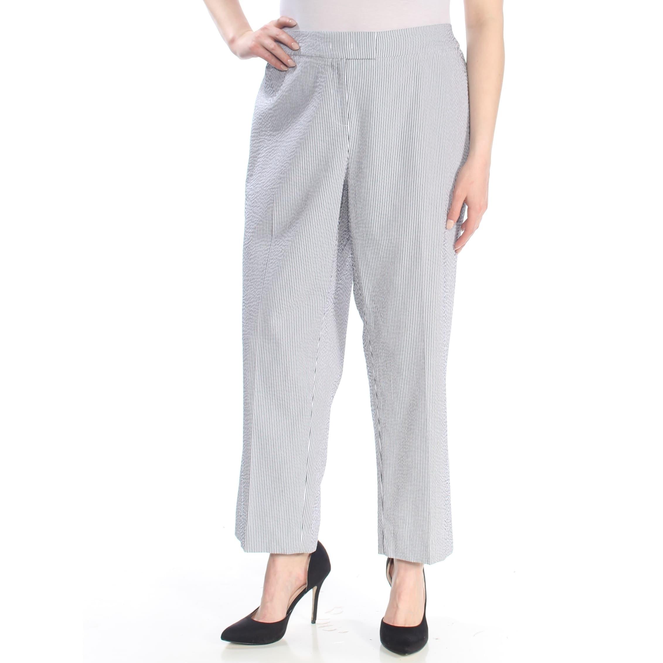 Shop Anne Klein Womens Black Seersucker Striped Pants Plus Size