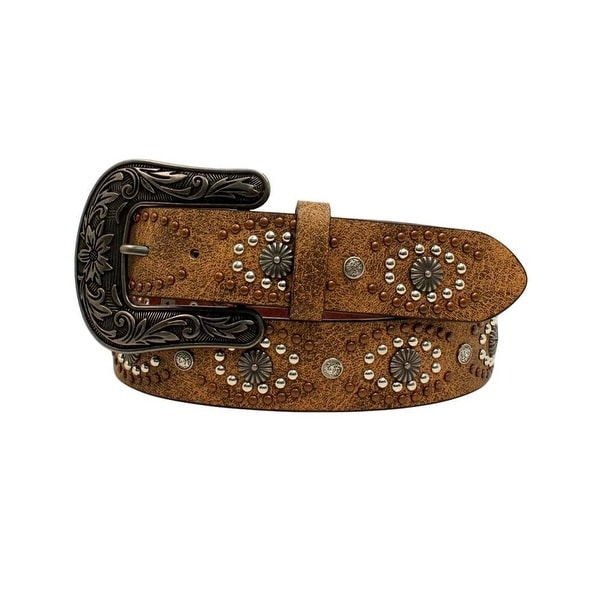 Nocona Western Belt Womens Leather Distressed Copper Studs