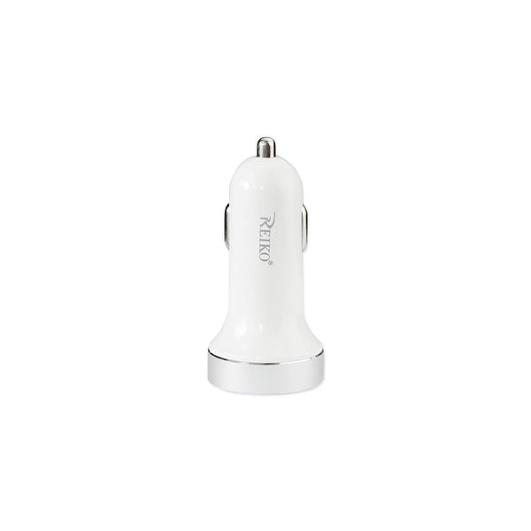 USB & TYPE C 2A5V DUAL PORT CAR CHARGER WHITE