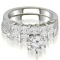 2.05 cttw. 14K White Gold Bar Set Round & Princess Cut Diamond Bridal Set - Thumbnail 0