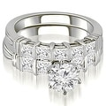2.30 cttw. 14K White Gold Bar Set Round & Princess Cut Diamond Bridal Set - Thumbnail 0