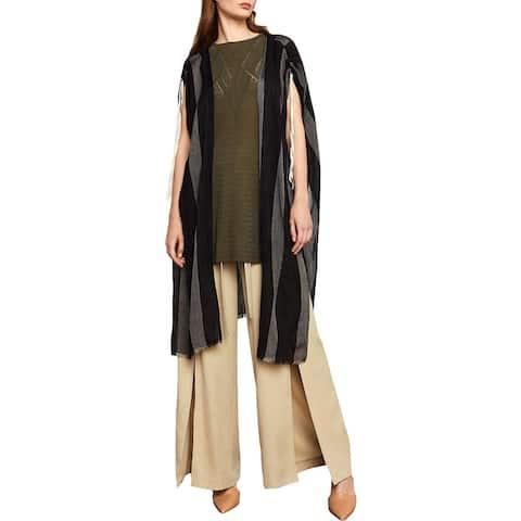 BCBG Max Azria Womens Poncho Sweater Striped Sleeveless - O/S