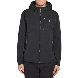 Polo Ralph Lauren Big and Tall Hooded Down Windbreaker Jacket Black XLT Tall