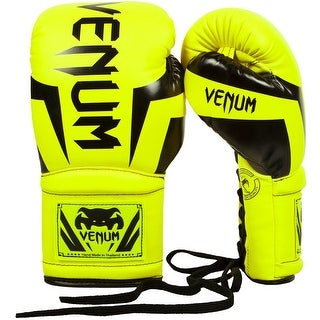 Venum Elite Long Cuff Attached Thumb Lace Up Boxing Gloves - Neo Yellow