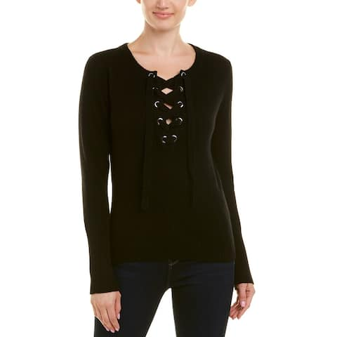 Qi Cashmere Lace Up Cashmere Sweater