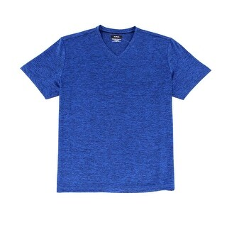 Alfani NEW Blue Mens Size Large L Moisture Wicking Space Dye V-Neck T-Shirt