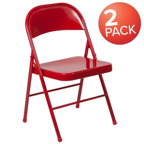 2 Pack Double Braced Metal Folding Chair
