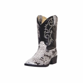 Laredo Western Boots Boys Faux Snake Pit Round Toe Black White LC2103