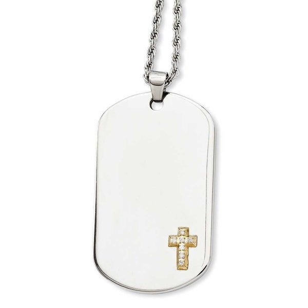 Stainless Steel & 14k with Diamonds Cross Dogtag Pendant 24in Necklace (2 mm) - 24 in