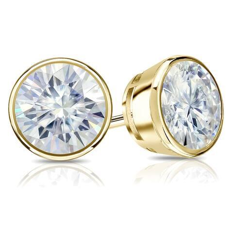 Auriya 14k Gold 1ctw Bezel-set Round Moissanite Stud Earrings - 5 mm, Screw-Backs