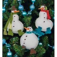 "3""X4"" Set Of 3 - Simple Snowmen Ornaments Felt Applique Kit"